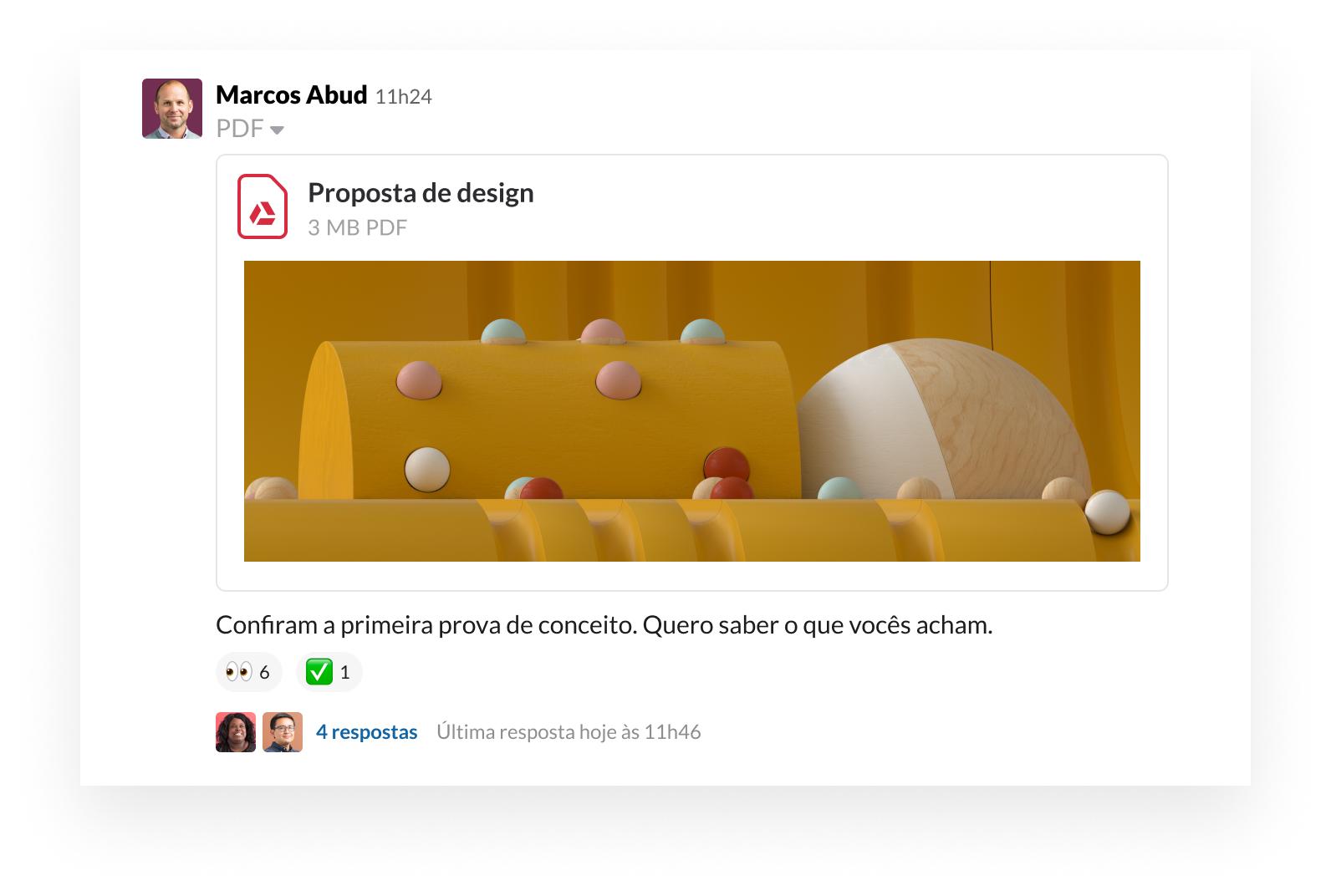 IU de produto do Slack mostrando como compartilhar um arquivo e dar feedback