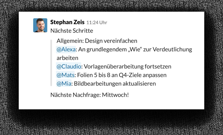 Slack-UI, die die Verwendung der @-Erwähnung zum Organisieren von Aufgaben und Inhabern zeigt