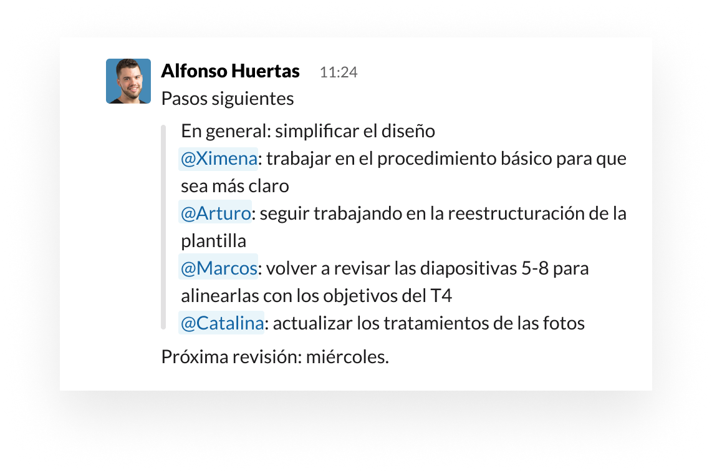 """Interfaz de usuario de Slack que muestra cómo usar la mención """"arroba"""" para organizar tareas y propietarios"""