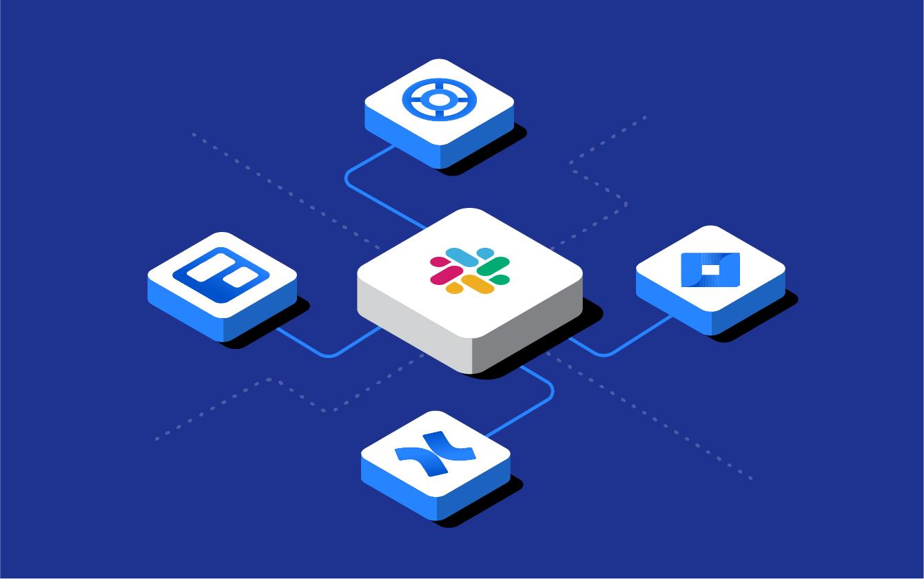 App logos representing Slack, Jira, Trello, Halp & Confluence