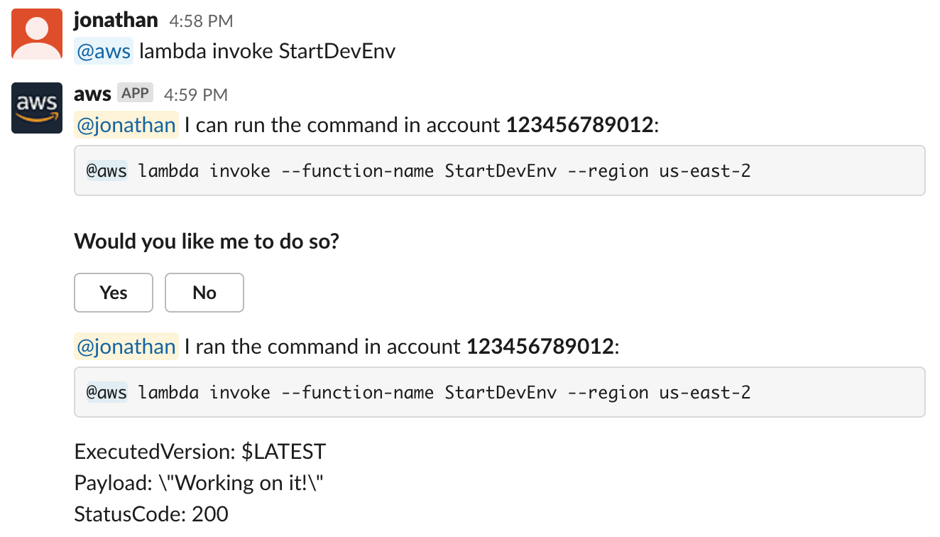 A screenshot illustrating how AWS Chatbot can be used to run AWS commands in Slack channels.