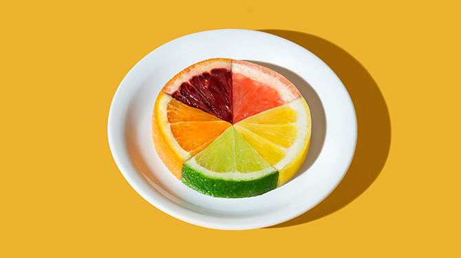 Sliced fruit on a plate