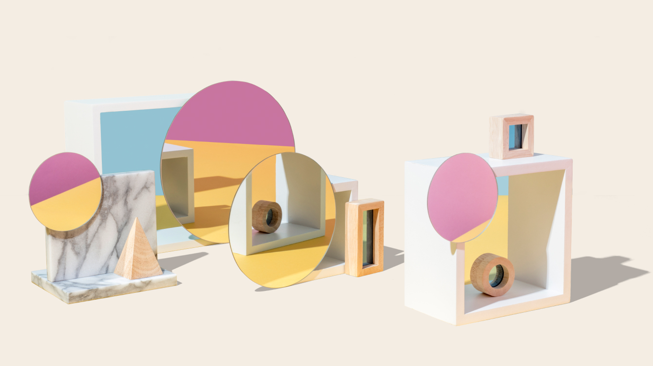 Mirrors with objects representing Block Kit