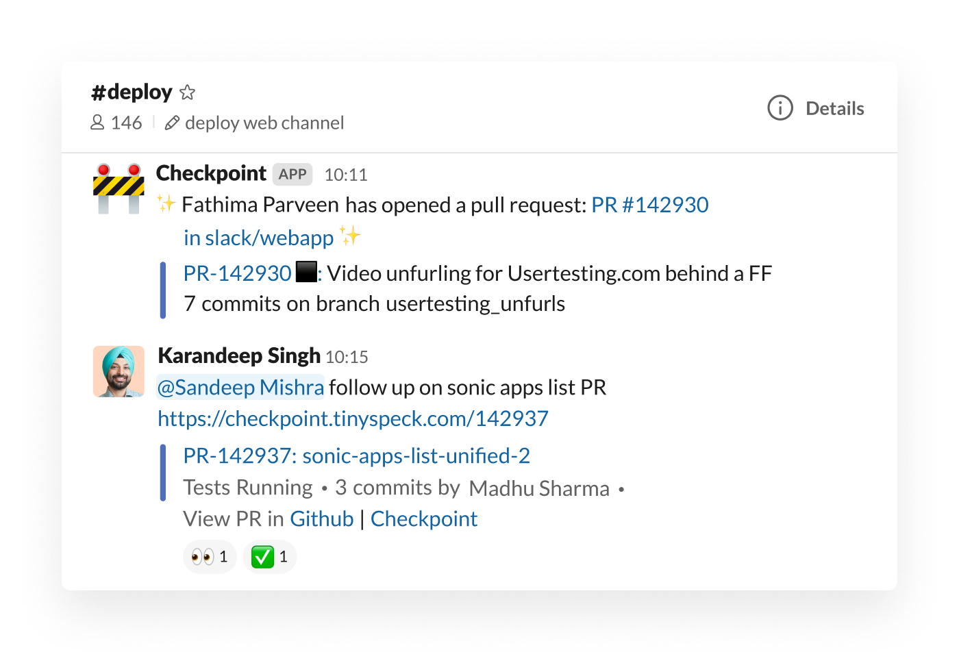Checkpoint integration in Slack posting pull request in channel