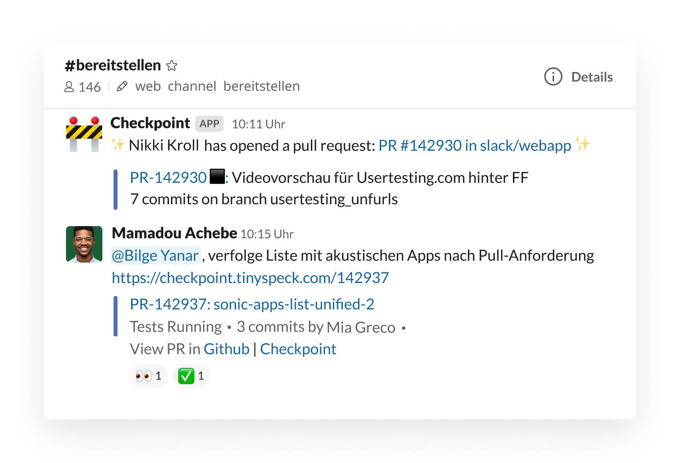 Checkpoint-Integration in Slack postet Pull-Anforderung im Channel