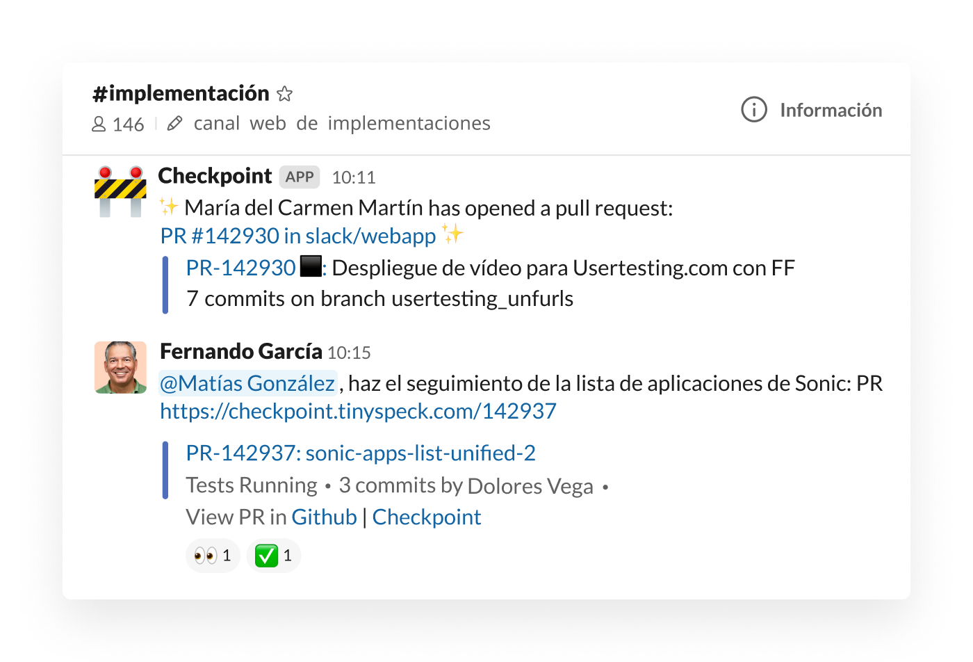 Integración de Checkpoint en Slack publicando una pull request en el canal