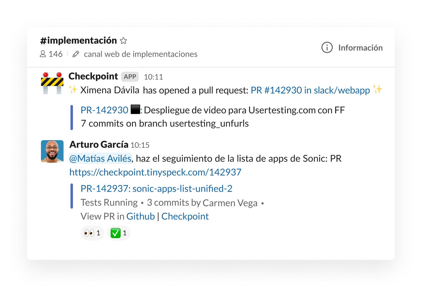 Integración de checkpoint en solicitud pull de publicación de Slack en canal