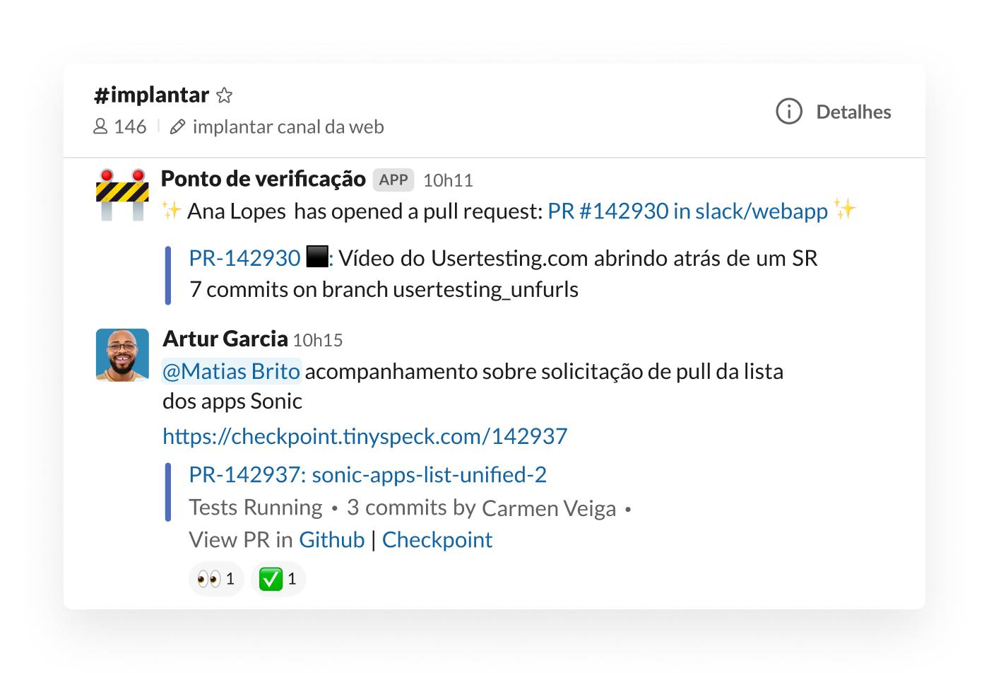 Integração do Checkpoint no Slack para postar solicitações de pull no canal