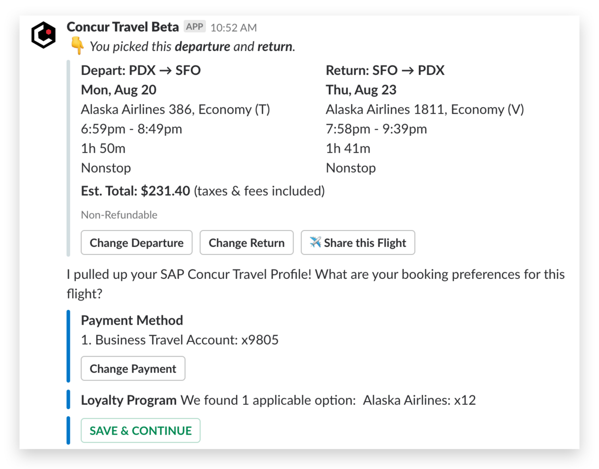 Concur travel flight pay screenshot