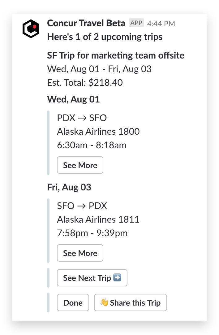 Concur travel flights list