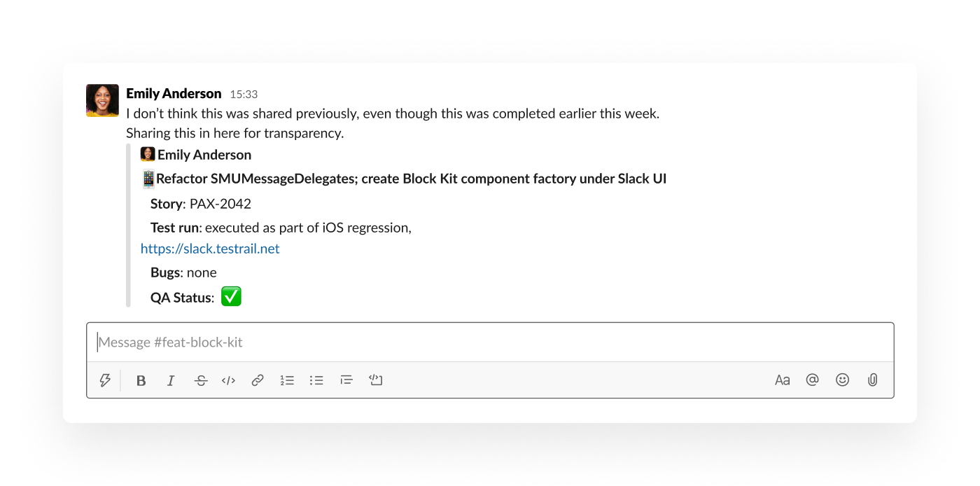 Sharing a message in Slack
