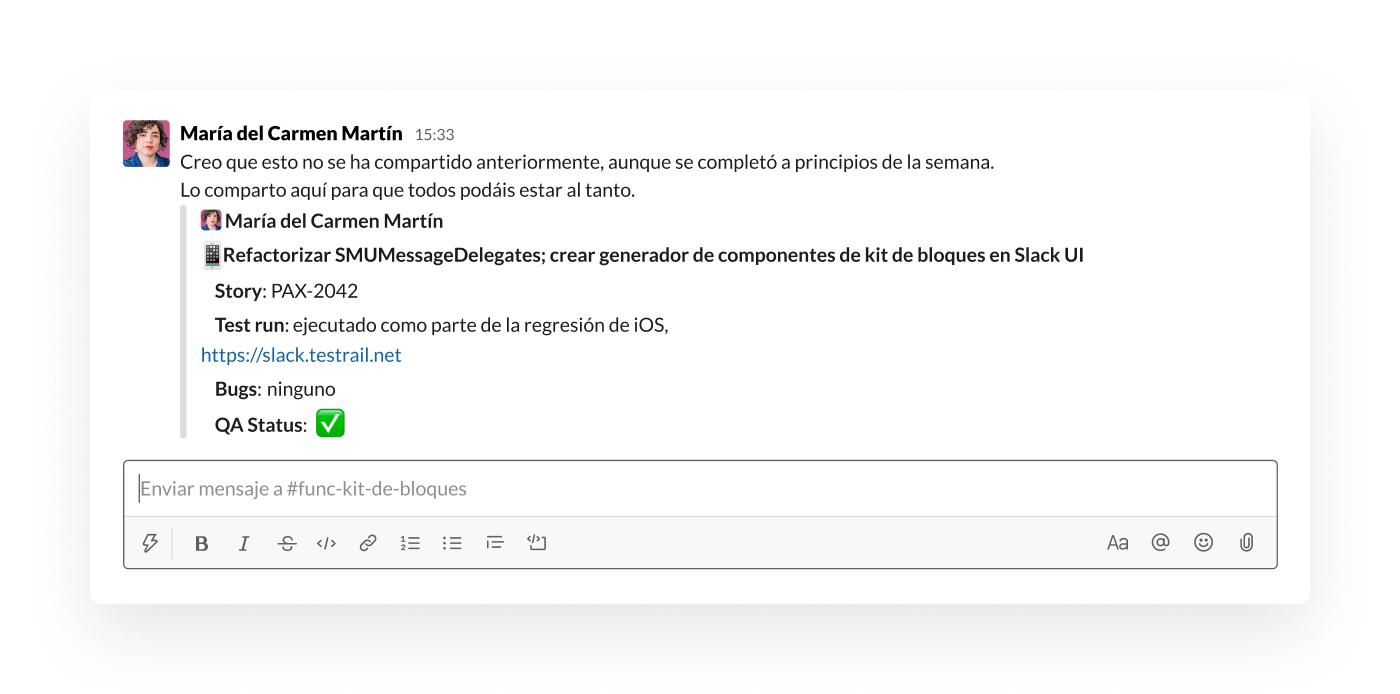 Compartir un mensaje en Slack