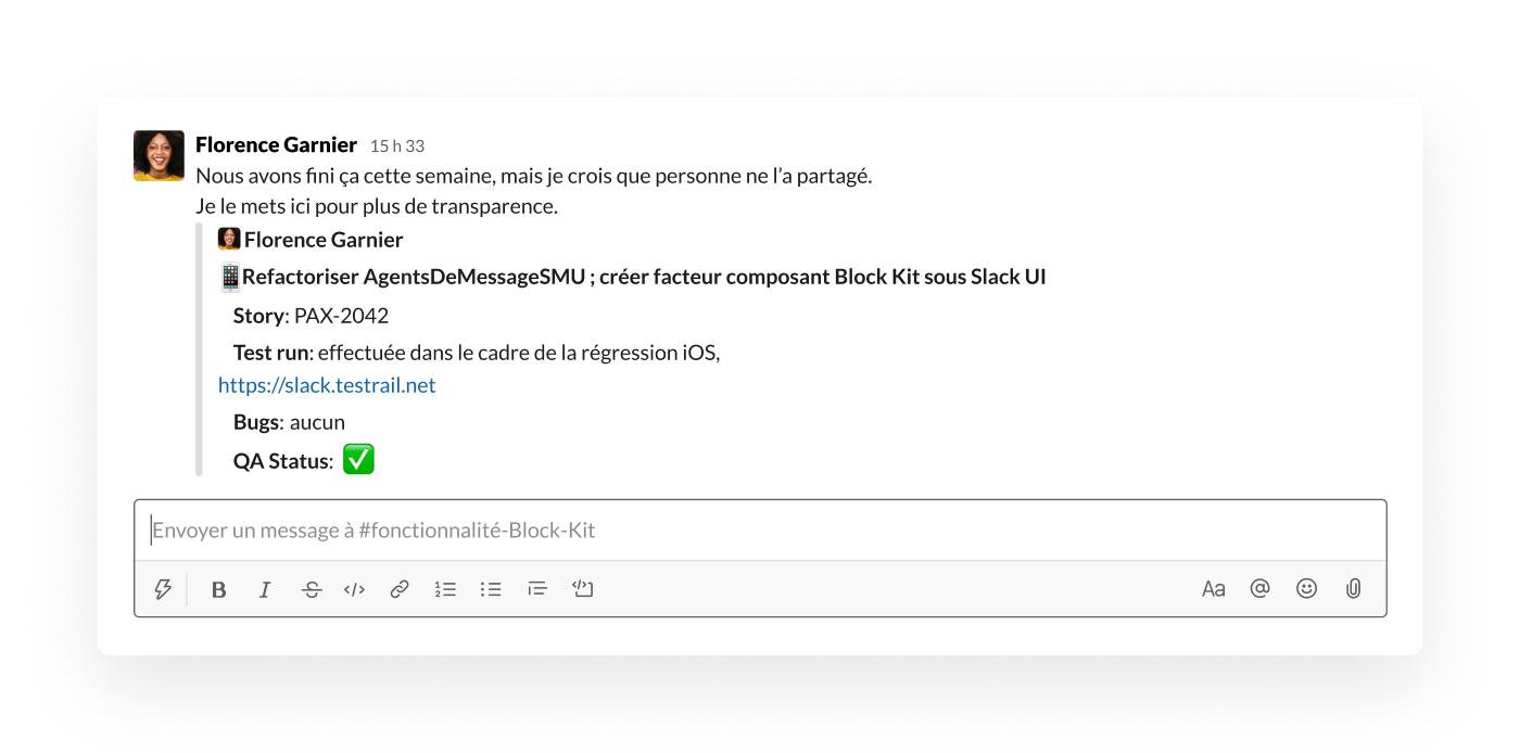 Partage d'un message dans Slack