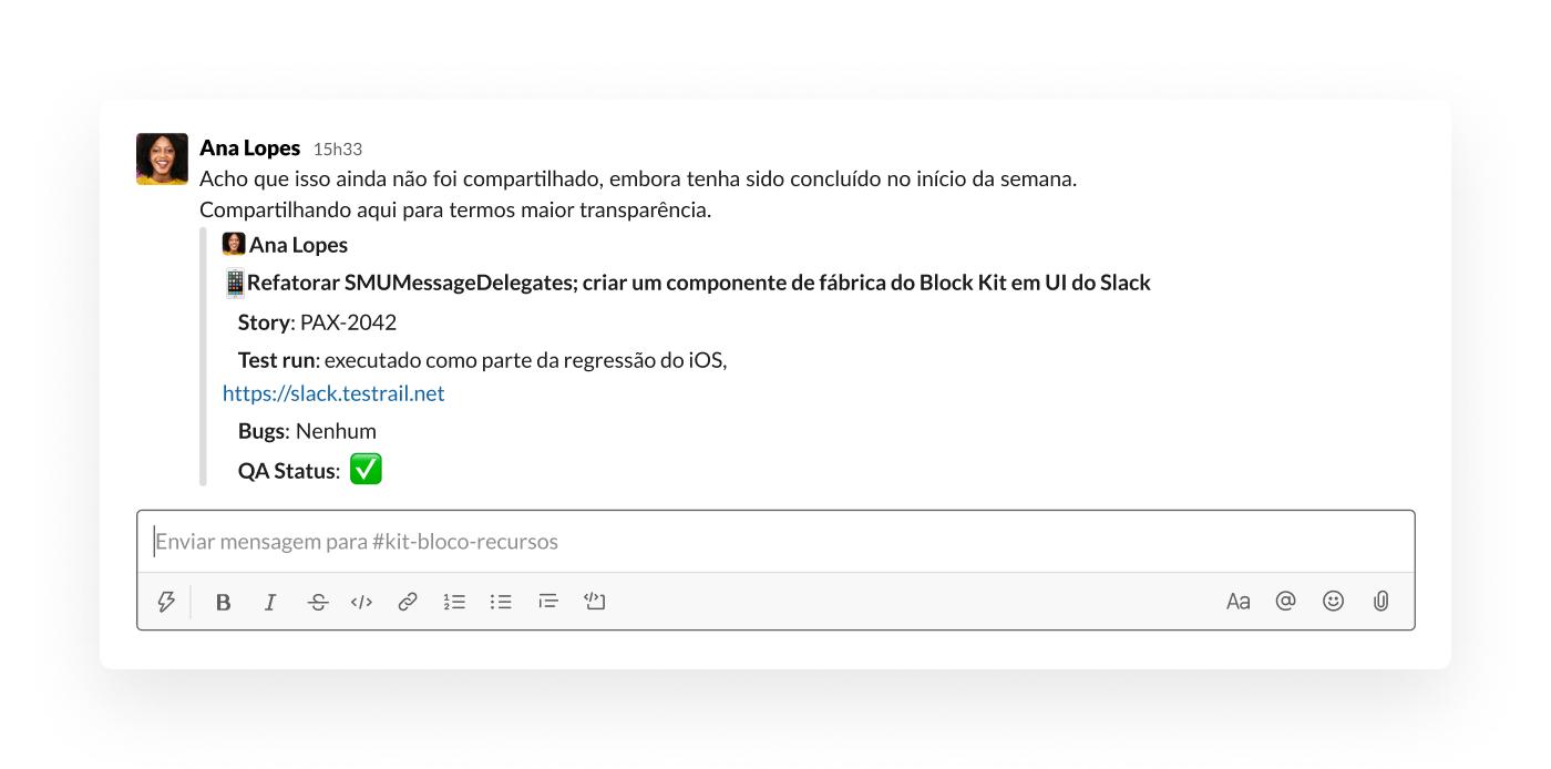 Compartilhamento de uma mensagem no Slack