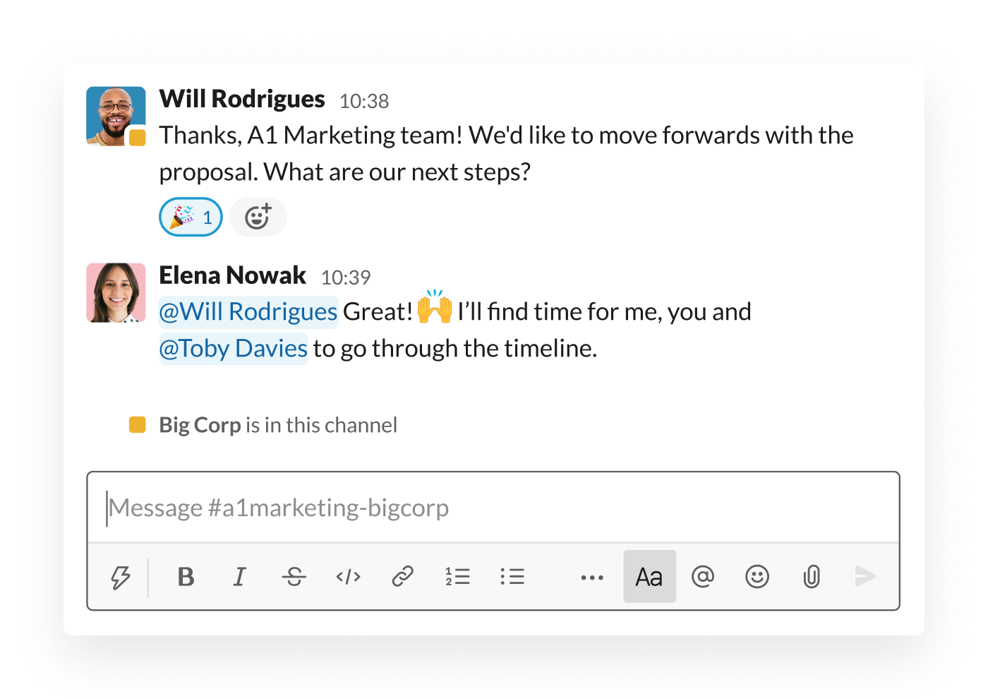 Two organisations move forwards with a proposal in a shared Slack channel
