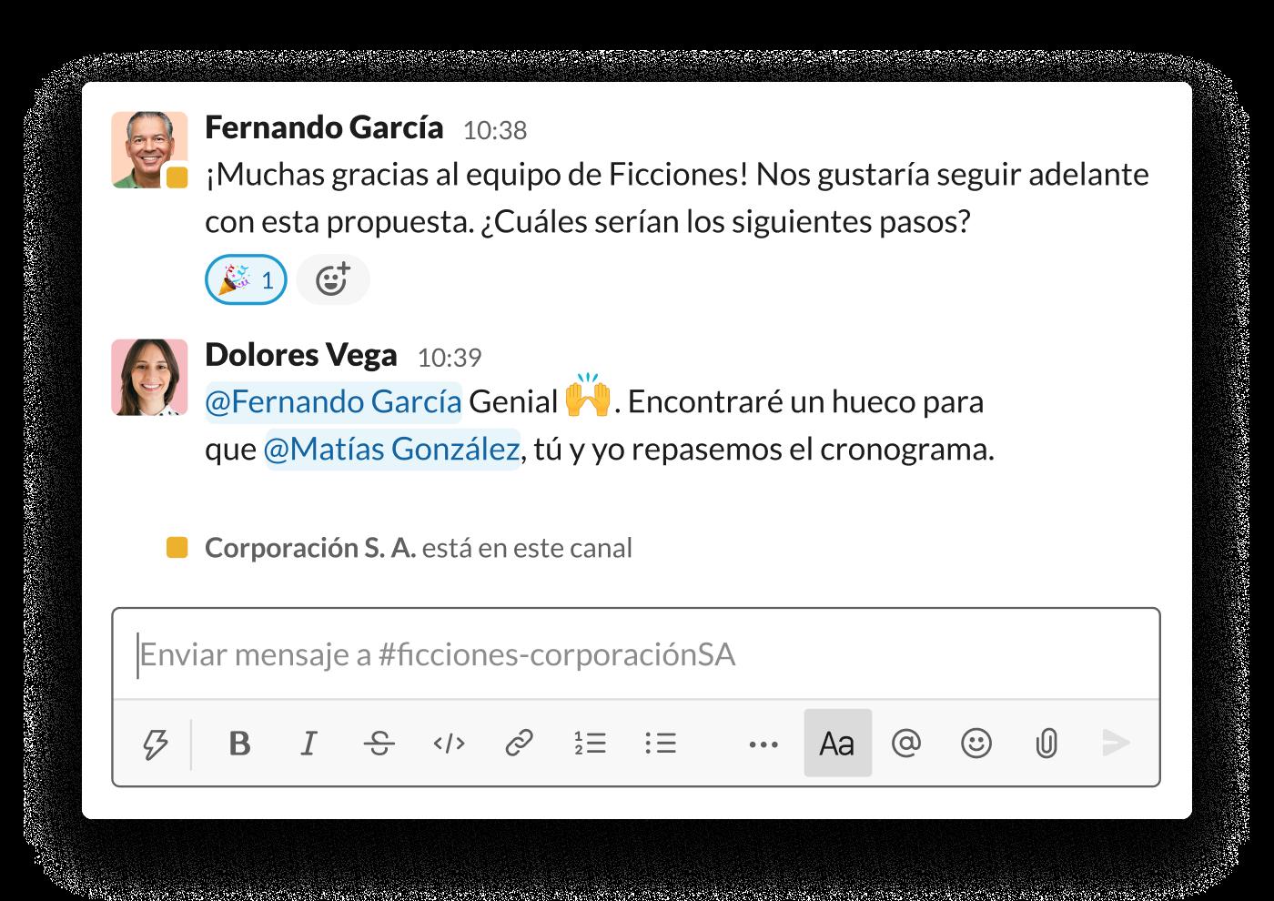 Dos organizaciones avanzan con una propuesta en un canal compartido de Slack.