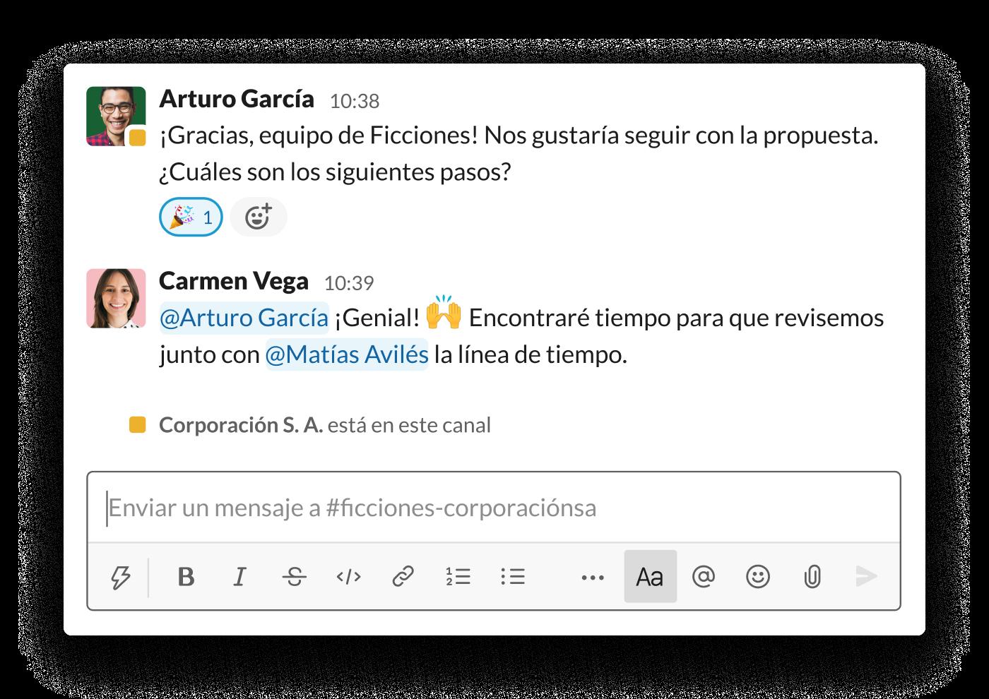 Dos organizaciones avanzan con una propuesta en un canal compartido de Slack