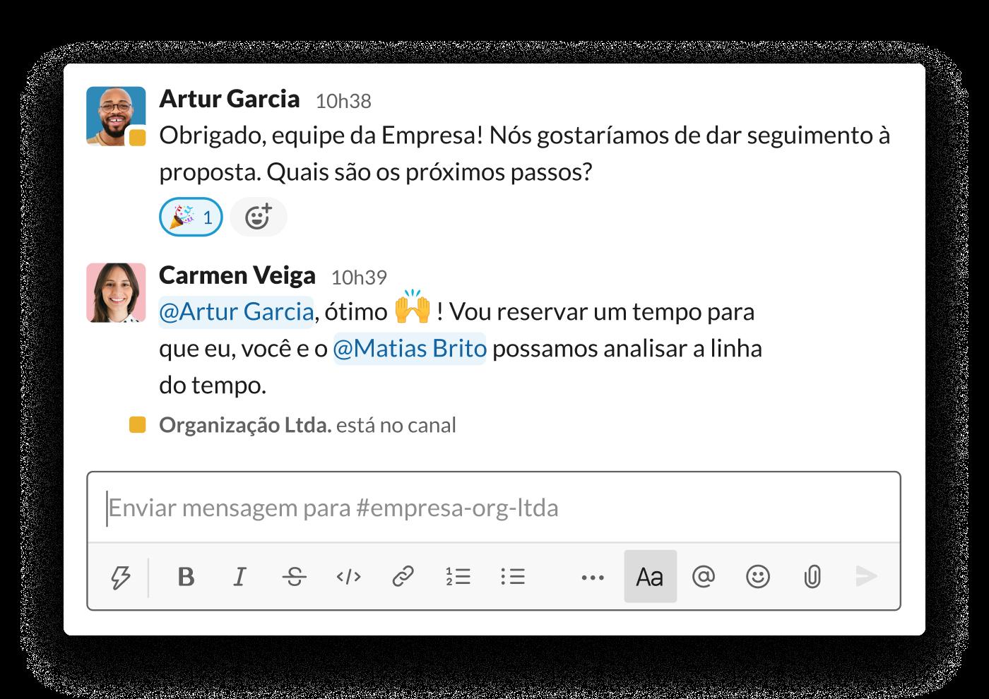 Duas organizações negociam uma proposta em um canal compartilhado do Slack