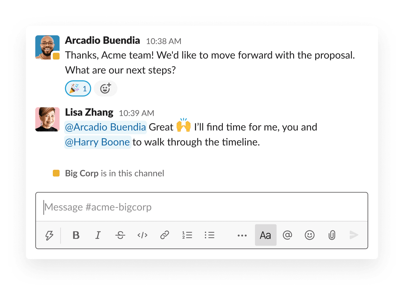 Two organizations move forward with a proposal in a shared Slack channel