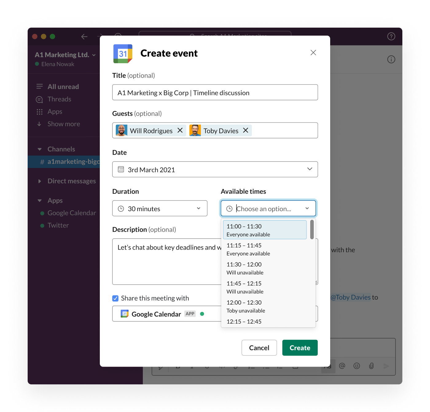 An employee is able to see the availability of external partners and quickly schedule a meeting, without leaving Slack Connect