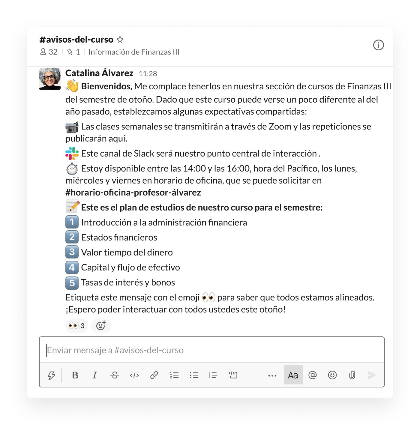 Anuncios para profesores en el canal de Slack