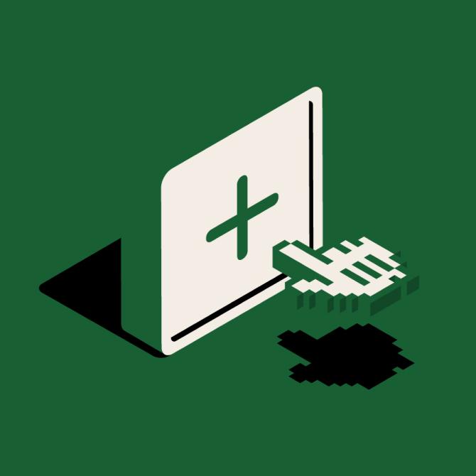 """Botón con la forma de una tecla de teclado en el que aparece un símbolo """"+"""" en el centro y el puntero de un ratón que se desliza hasta pulsar el símbolo"""