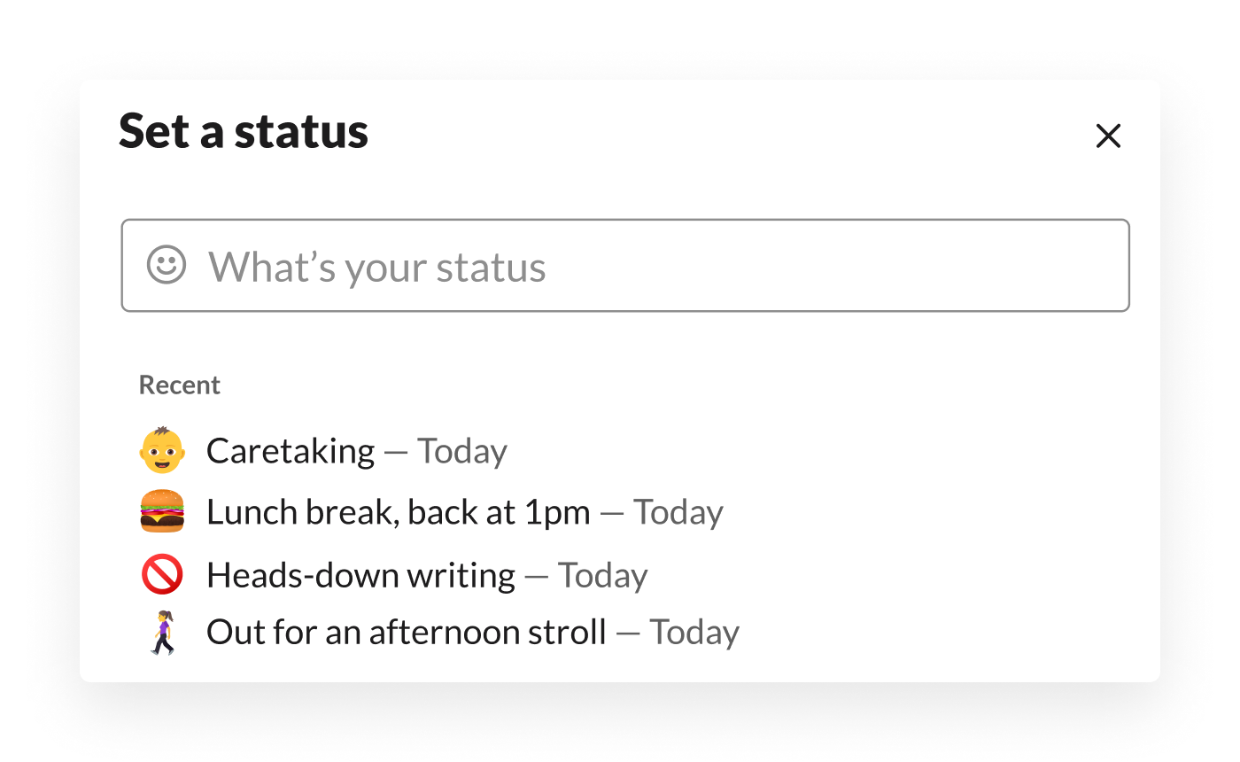 An employee selects from recently used customised statuses in Slack, including parenting, taking a lunch break and more