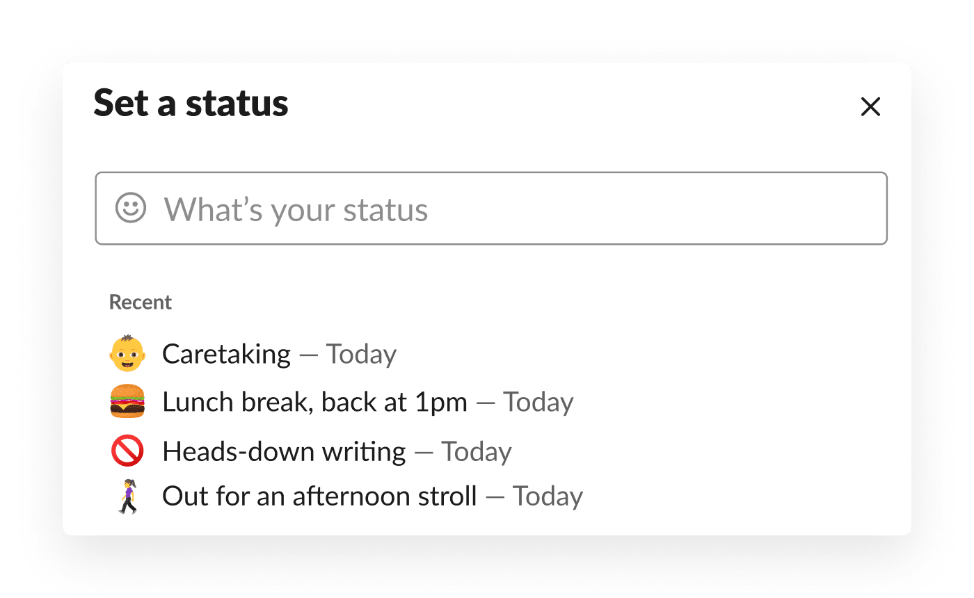 An employee selects from recently used custom statuses in Slack, including caretaking, taking a lunch break, and more