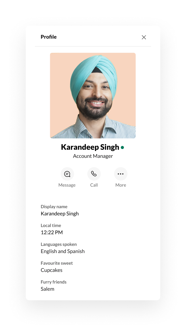 A Slack profile featuring customised fields