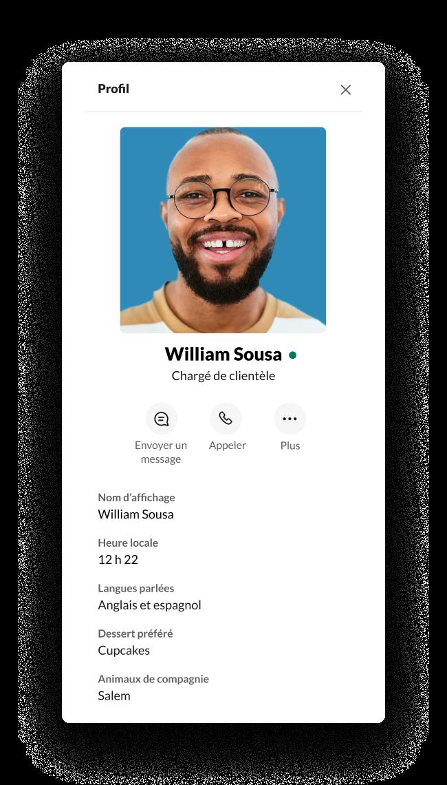 Un profil Slack avec des champs personnalisés