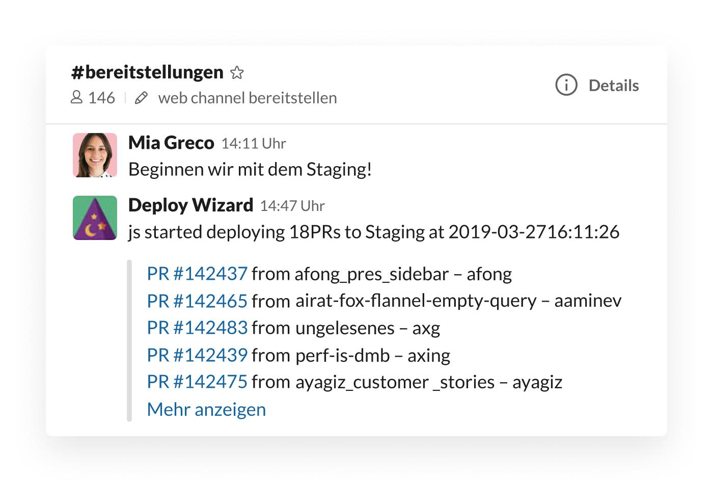 Deploy Wizard-Integration in Slack postet Staging-Updates