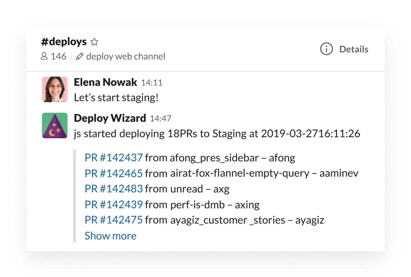 Deploy Wizard integration in Slack posting staging updates
