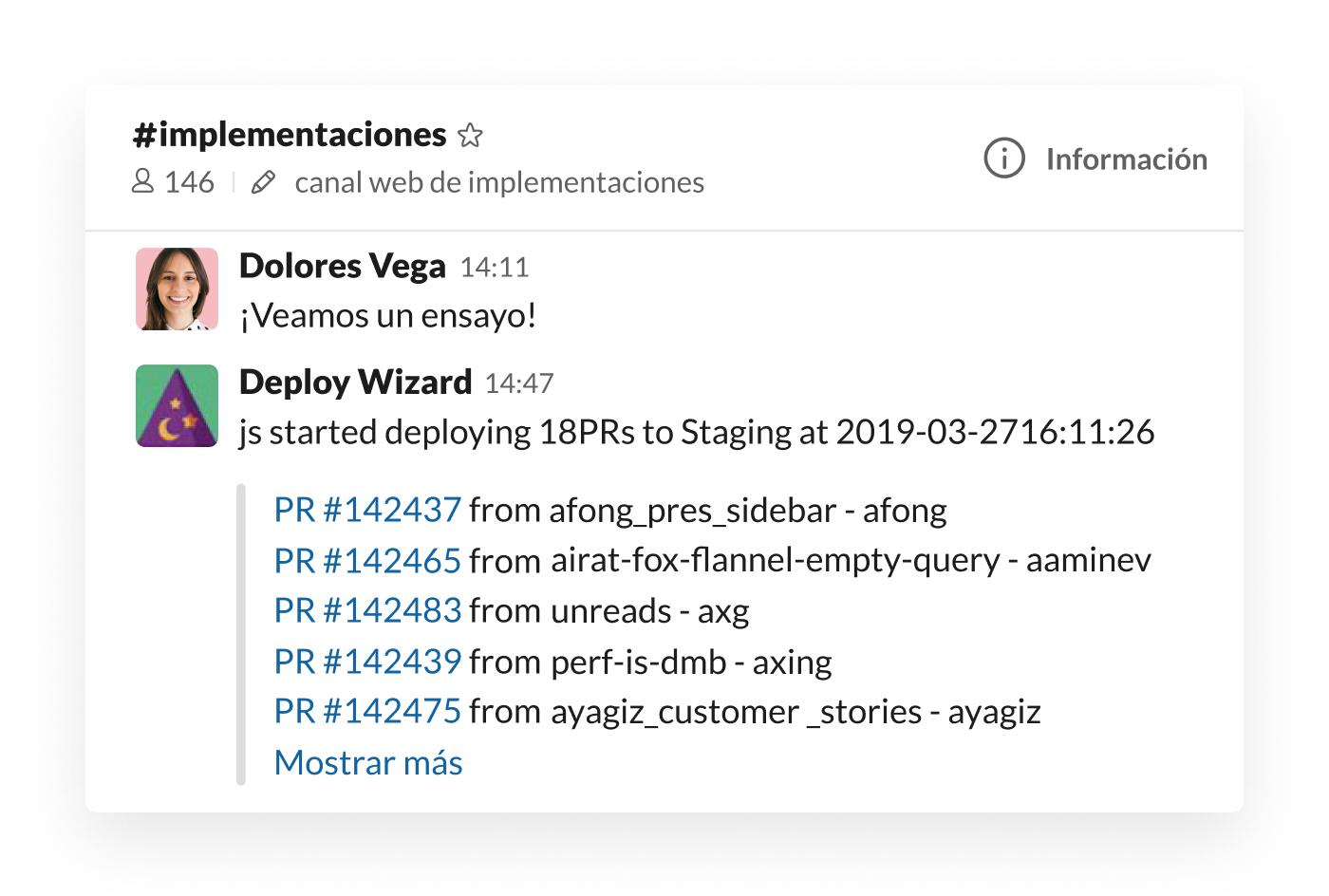 Integración de Deploy Wizard en Slack publicando las actualizaciones del entorno de pruebas