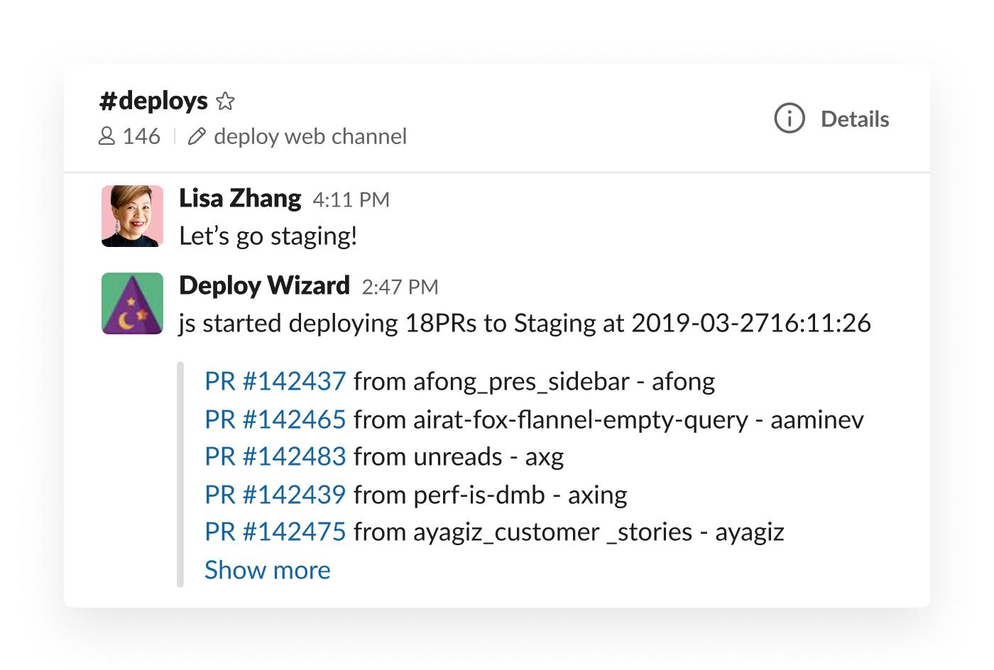 Deploy Wizard integration in Slack posting staging updates