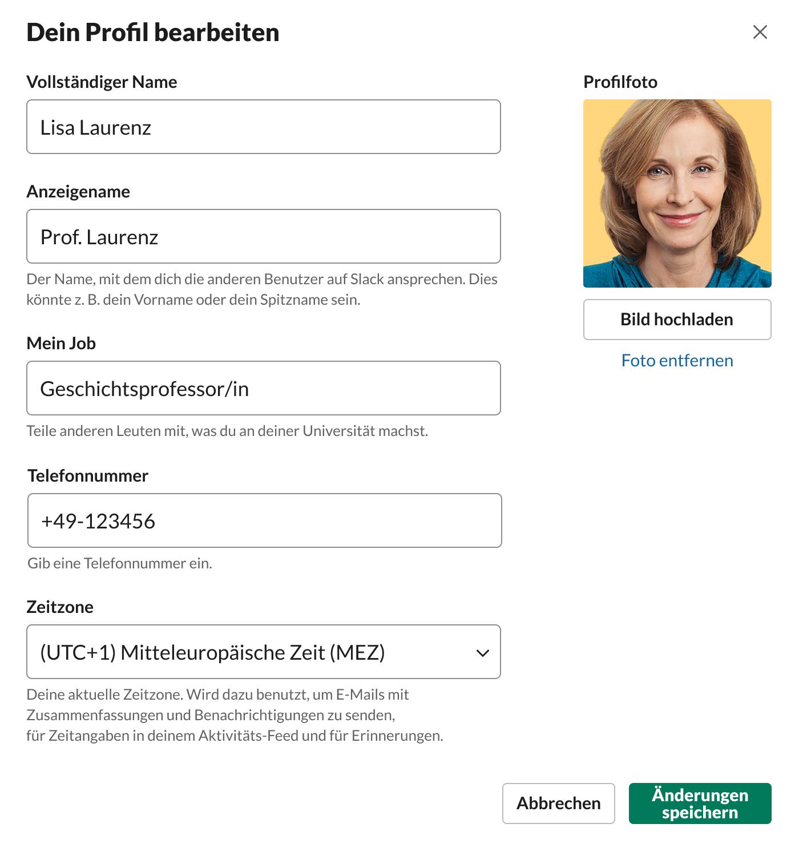 Das Slack-Profil einer Professorin.