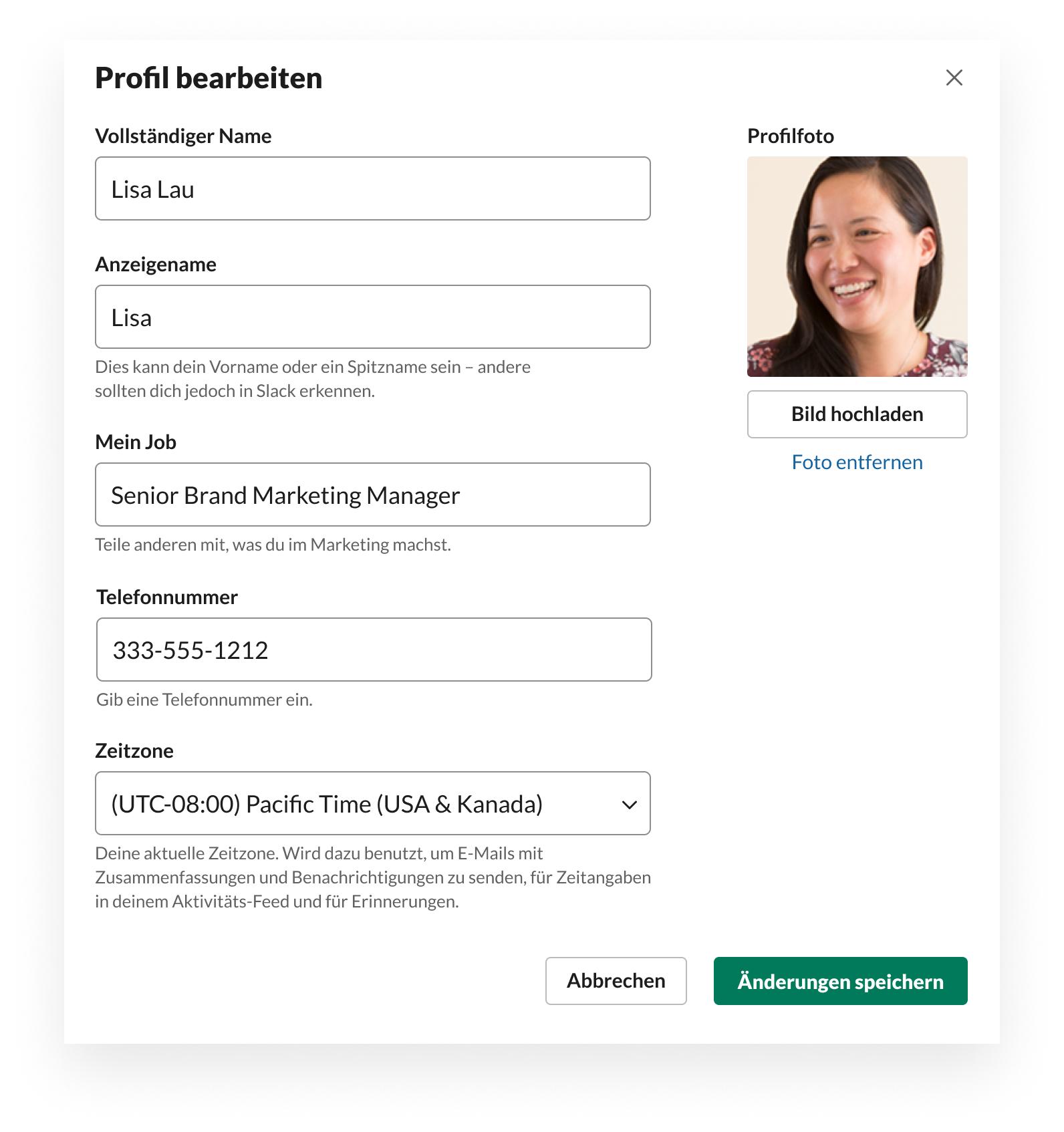 Slack-UI, die zeigt, wie du dein Profil bearbeitest, einschließlich Foto, Name, Titel, Zeitzone und Telefonnummer