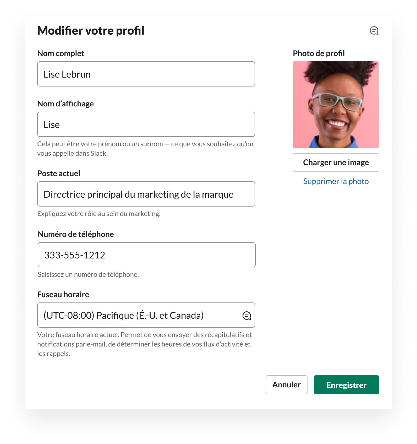 Interface de Slack qui montre comment modifier le profil et notamment la photo de profil, le nom, le poste, le fuseau horaire et le numéro de téléphone