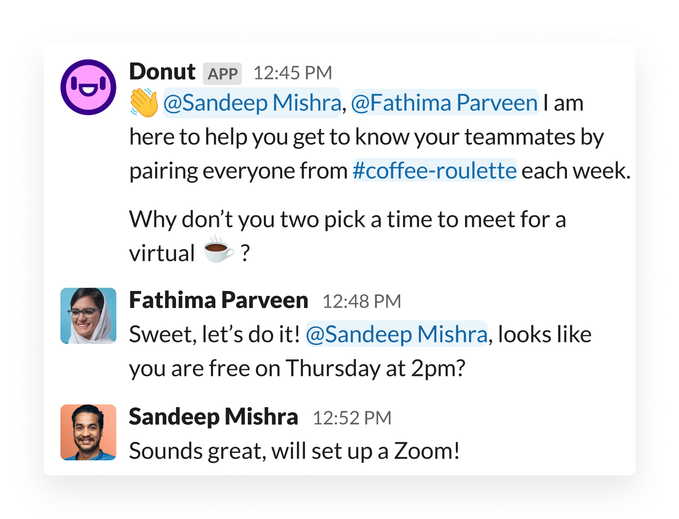 Two colleagues are prompted to meet via the Donut app for Slack