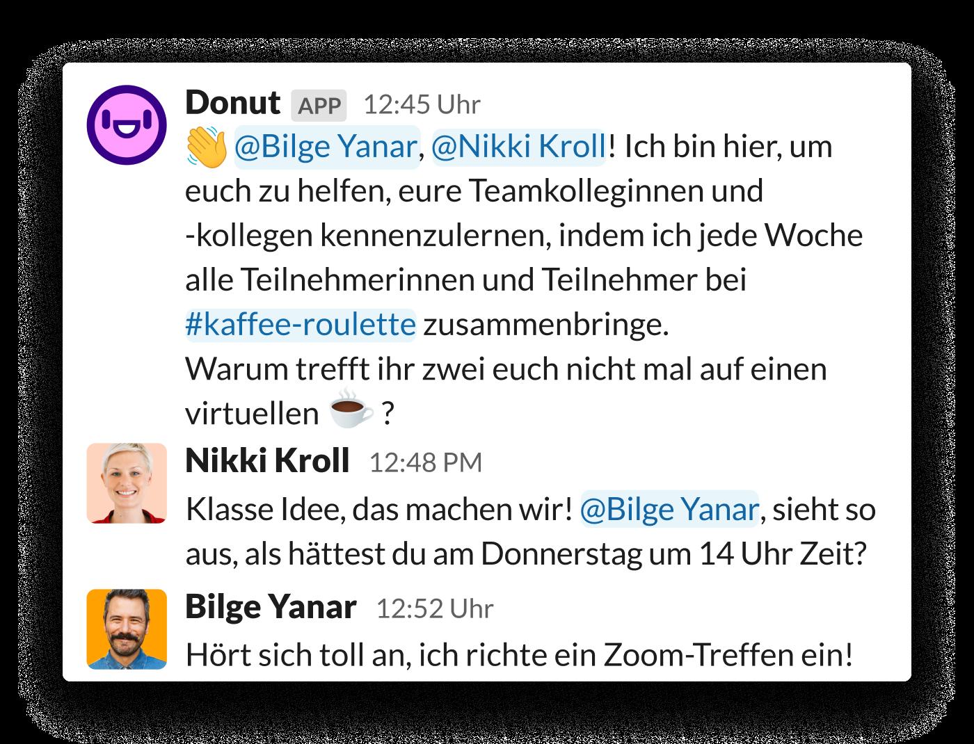 Zwei Angestellte werden über die Donut-App für Slack zu einem Treffen animiert