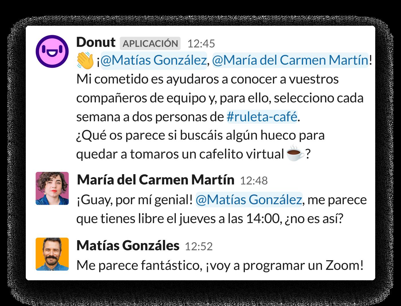 Se anima a dos compañeros de trabajo a reunirse mediante la aplicación Donut para Slack.