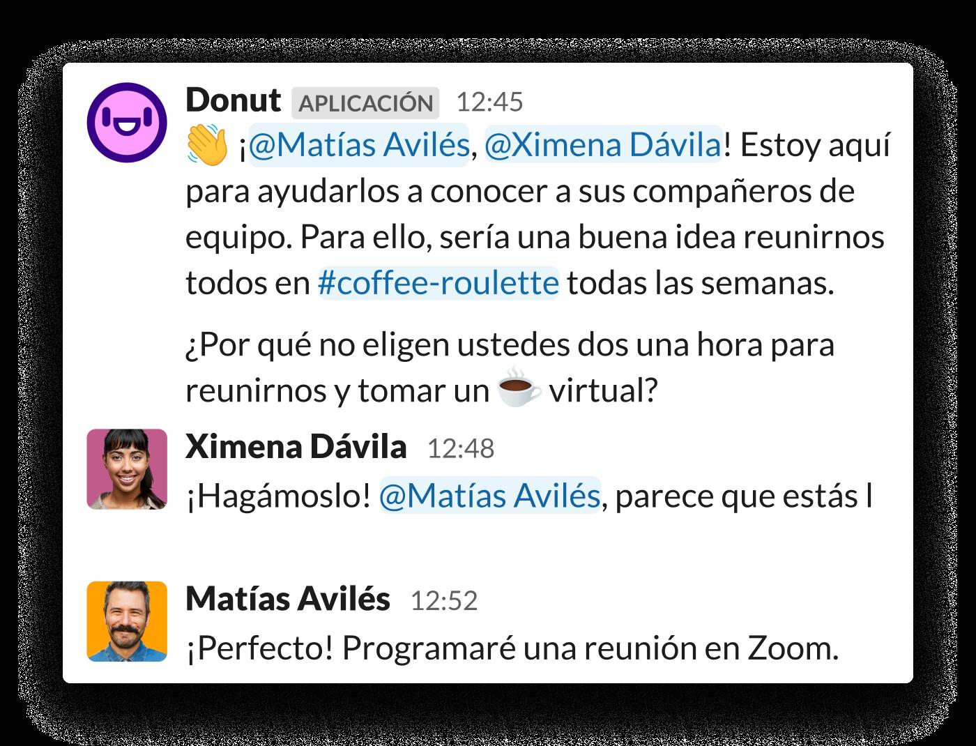 Se les pide a dos colegas que se reúnan a través de la aplicación Donut para Slack
