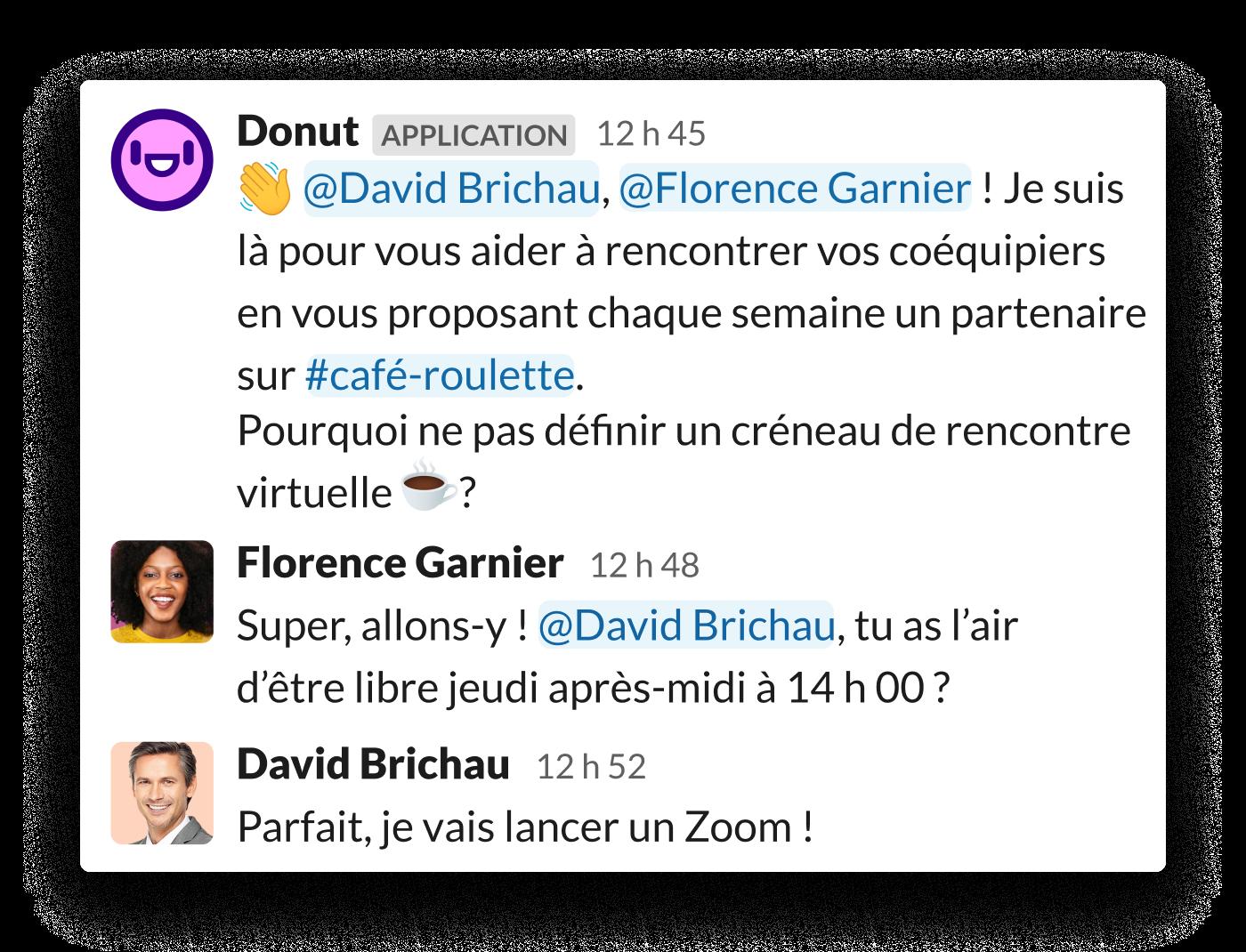 Deux collègues sont invités à se rencontrer via l'application Donut pour Slack