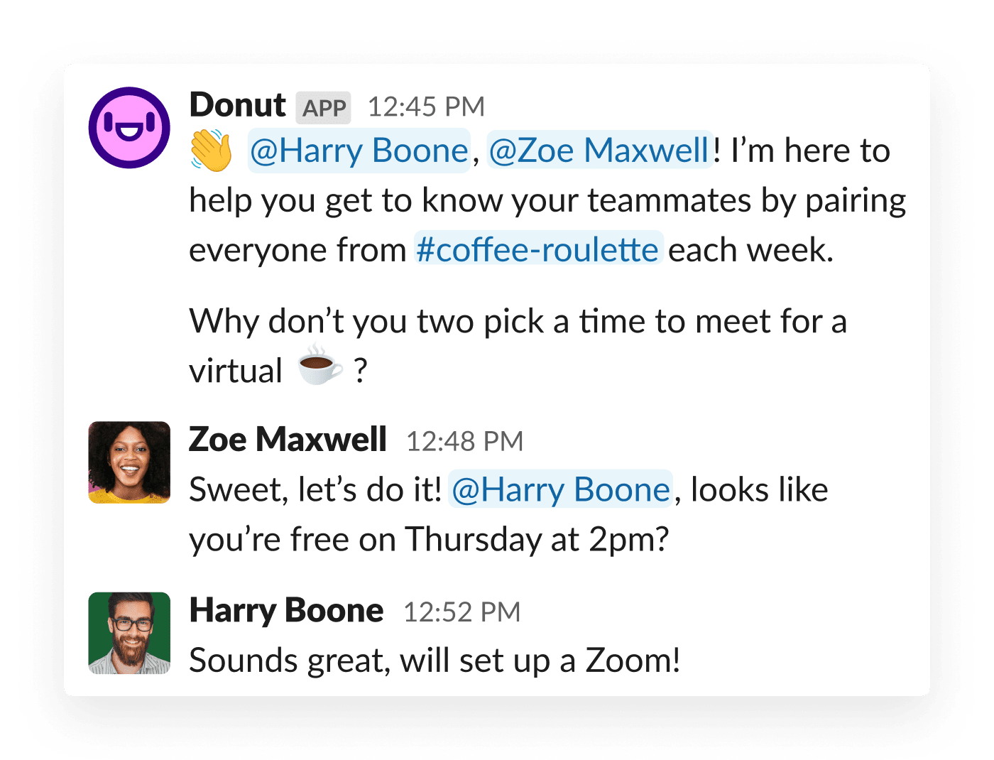 Two coworkers are prompted to meet via the Donut app for Slack