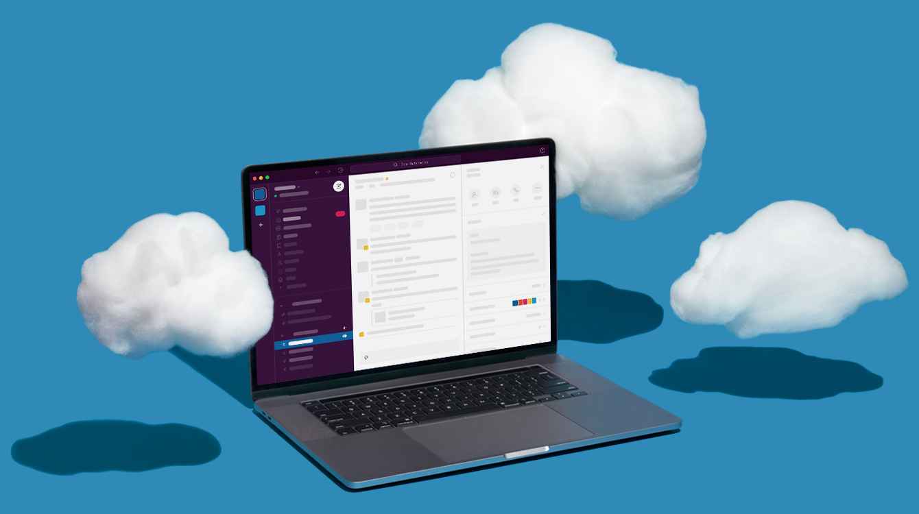 Computer with Slack application opened and clouds hovering around