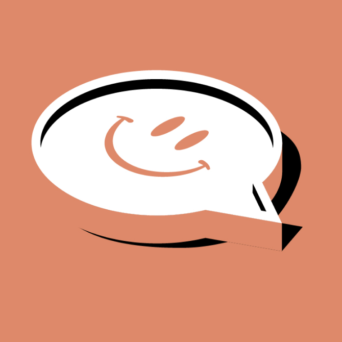 Speech bubble with a simple smiling face at its center