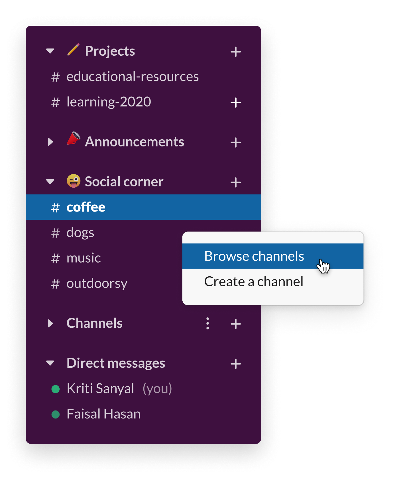 A Slack sidebar showing multiple social channels, including #coffee and #dogs