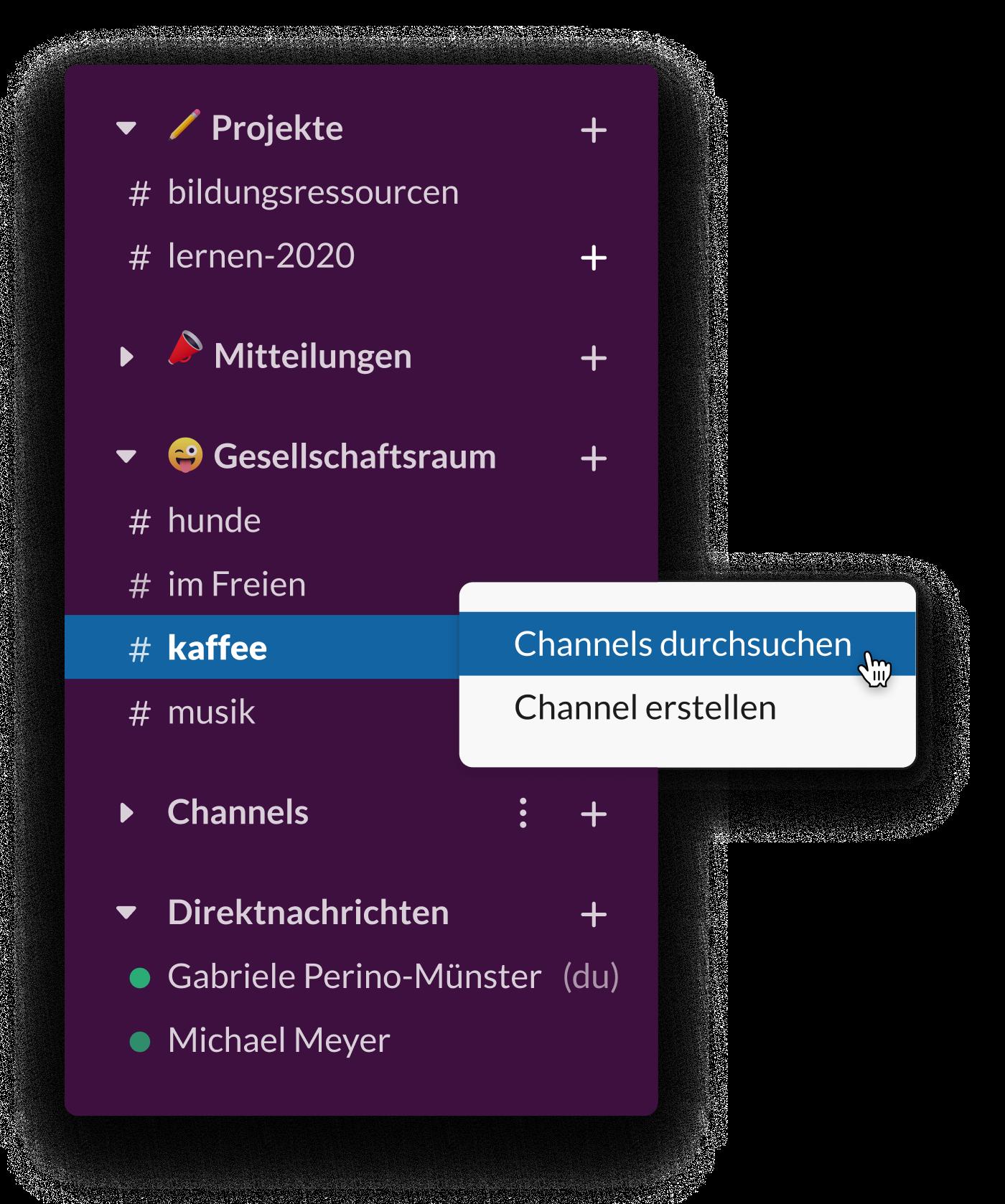 Eine Slack-Seitenleiste mit mehreren sozialen Channels, z. B. #kaffee und #hunde