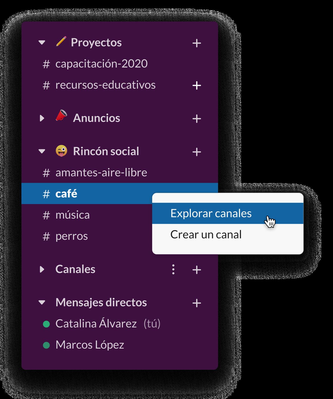 Una barra lateral de Slack que muestra varios canales sociales, incluidos #café y #perros