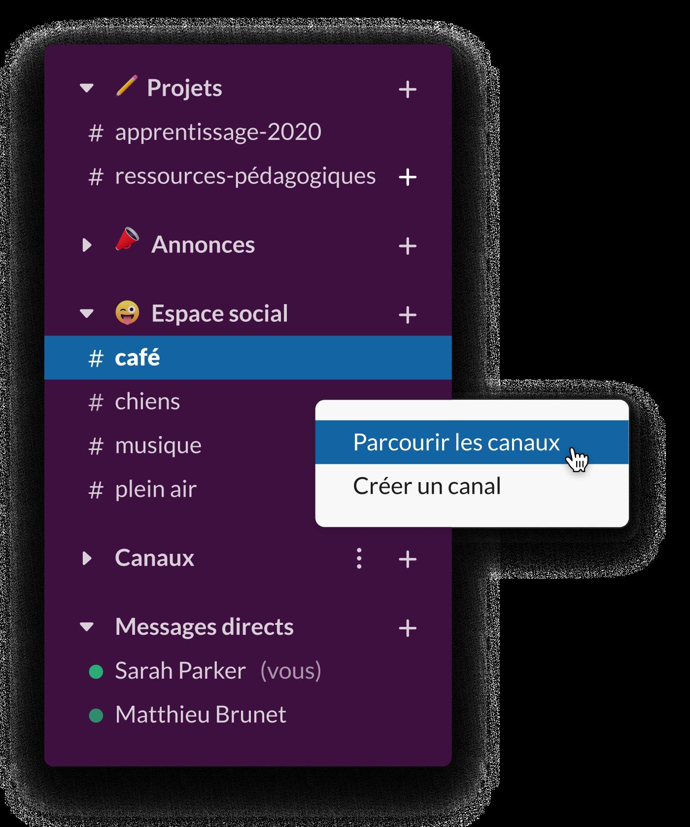 Une barre latérale Slack montrant plusieurs canaux sociaux, dont #café et #chiens