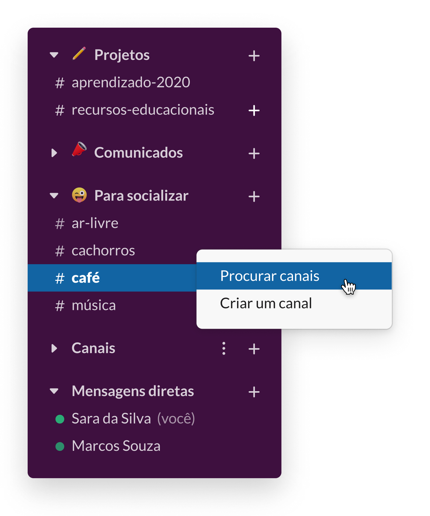 Uma barra lateral do Slack mostrando vários canais sociais, incluindo #café e #cachorros
